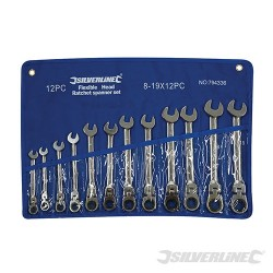 Flexible Head Ratchet Spanner Set 12pce - 8 - 19mm