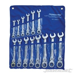 Flexible Head Ratchet Spanner Set 14pce - 8 - 24mm