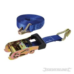 Rubber-Handled Ratchet Tie Down Strap J-Hook - 6m x 38mm - WLL 750kg Breaking Strength 2000kg