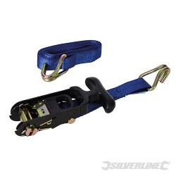 Rubber-Handled Ratchet Tie Down Strap J-Hook - 3m x 38mm - WLL 400kg Breaking Strength 1000kg