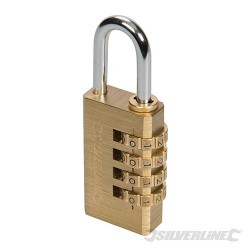 Combination Padlock Brass - 4-Digit