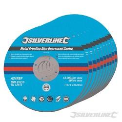 Metal Grinding Discs Depressed Centre 10pk - 115 x 6 x 22.23mm