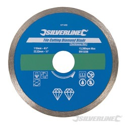 Tile Cutting Diamond Blade - 110 x 22.23mm Continuous Rim