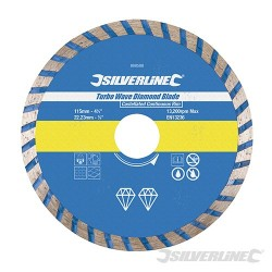 Turbo Wave Diamond Blade - 115 x 22.23mm Castellated Continuous Rim