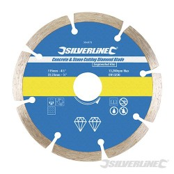 Concrete & Stone Cutting Diamond Blade - 115 x 22.23mm Segmented Rim