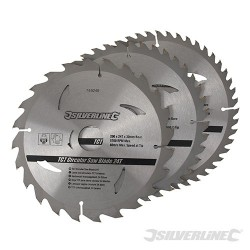 TCT Circular Saw Blades 24, 40, 48T 3pk - 200 x 30 - 25, 18, 16mm Rings