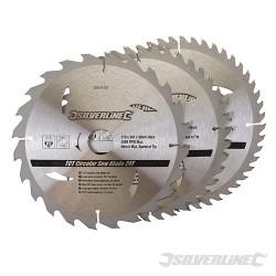 TCT Circular Saw Blades 24, 40, 48T 3pk - 210 x 30 - 25, 16mm Rings