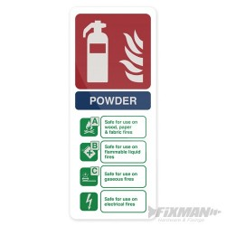 Dry Powder Fire Extinguisher Sign - 202 x 82mm Self-Adhesive
