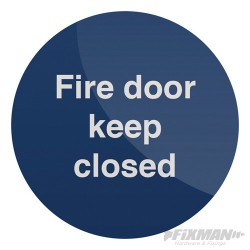 Fire Door Keep Closed Sign - 100 x 100mm Self Adhesive