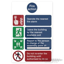 Fire Action Operate The Nearest Sign - 200 x 300mm Rigid