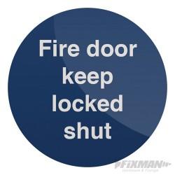 Fire Door Keep Locked Shut Sign - 100 x 100mm Rigid