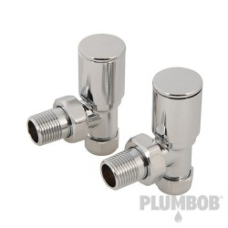 Angled Heated Towel Radiator Valves 2pk - 15mm