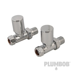 Straight Modern Heated Towel Radiator Valves 2pk - 15mm