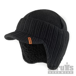 Peaked Knitted Hat Black - One Size