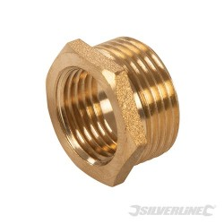 "Brass Hexagon Bush - 3/4"" (Male) x 1/2"" (Female)"