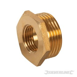 "Brass Hexagon Bush - 1"" (Male) x 1/2"" (Female)"